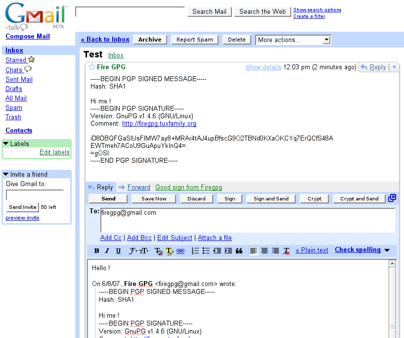 PGP/GPG for Gmail